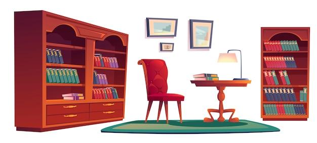 Viejo interior de la biblioteca vip con estanterías