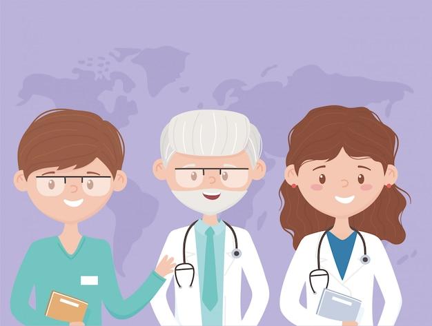 Viejo y joven equipo médico personal profesional practicante personaje de dibujos animados