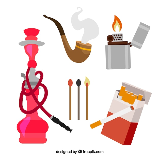 Viejo juego de equipos de fumar