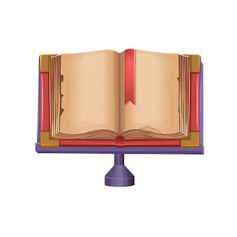 Viejo libro abierto sobre fondo blanco.ilustración de vector de dibujos animados.