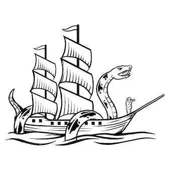 Viejo lobo de mar serpiente y barco