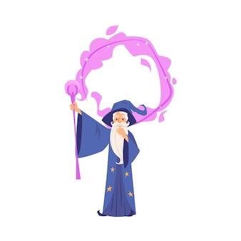 Viejo mago en bata y sombrero está haciendo magia