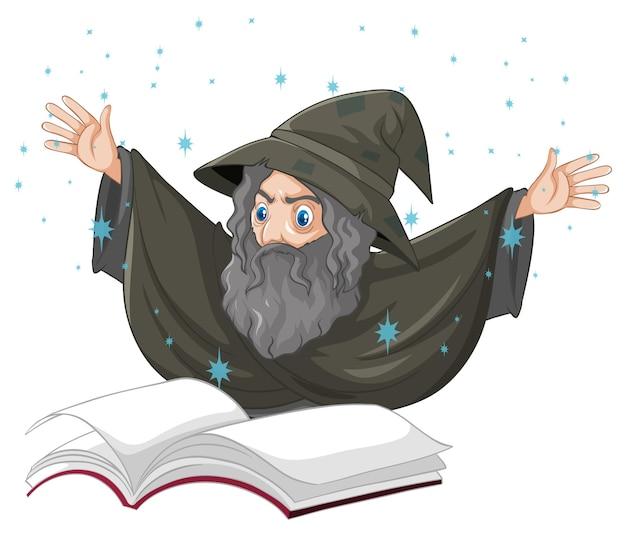 Viejo mago con estilo de dibujos animados de hechizo y libro aislado en blanco