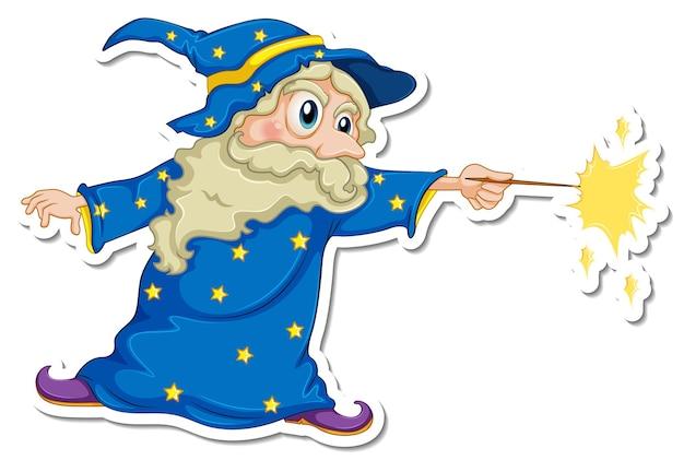 Un viejo mago personaje de dibujos animados pegatina