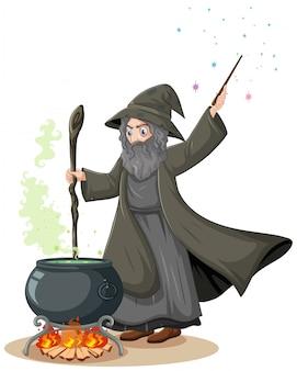 Viejo mago con pote de magia negra y varita mágica estilo de dibujos animados sobre fondo blanco.