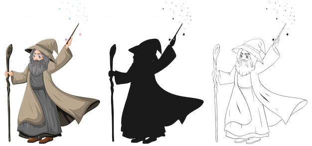 Viejo mago con varita mágica en color y contorno y silueta personaje de dibujos animados aislado sobre fondo blanco.