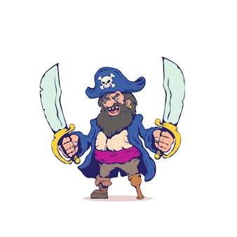 Viejo malvado pirata en estilo de dibujos animados