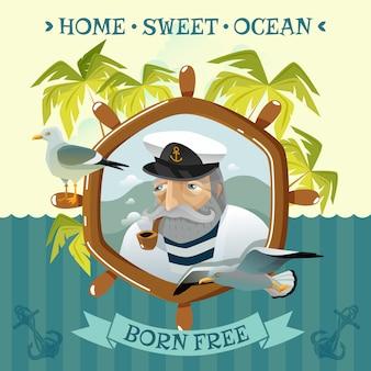Viejo marinero con casco de pipa humeante y gaviotas