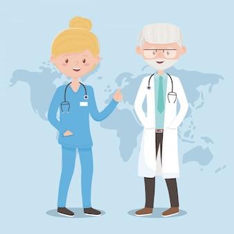 Viejo médico y enfermero personal mundial médico, médicos y personas mayores