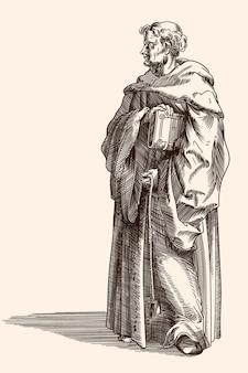 Un viejo monje con una sotana oscura con un libro biblia en la mano. grabado medieval.