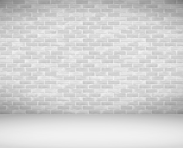 Viejo muro de ladrillo blanco y piso