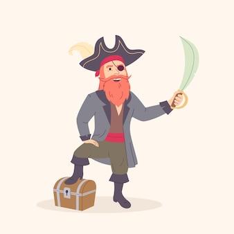 Viejo personaje de dibujos animados de pirata con viejo cofre del tesoro y espada ilustración vectorial plana
