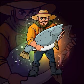 El viejo pescador esport logo diseño de ilustración