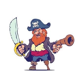 Viejo pirata malvado en estilo de dibujos animados