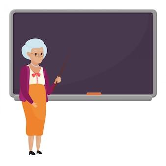 Viejo profesor de la historieta que se coloca delante del ejemplo en blanco del vector de la pizarra de la escuela. profesora de abuelita aislada.