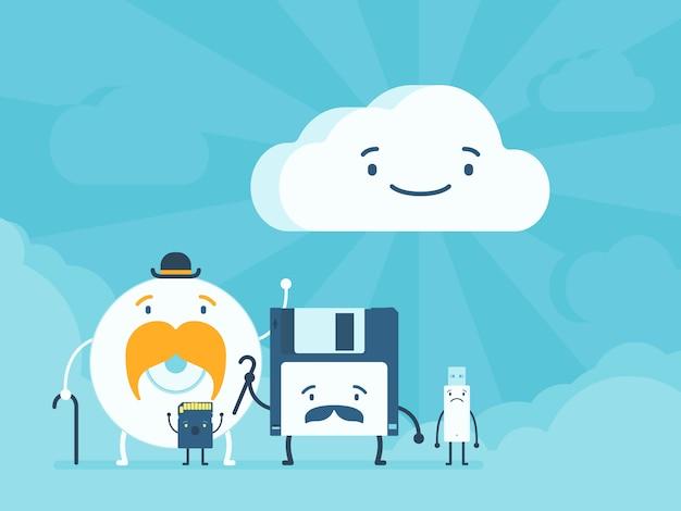 Viejos almacenes de memoria y servicio de datos en la nube