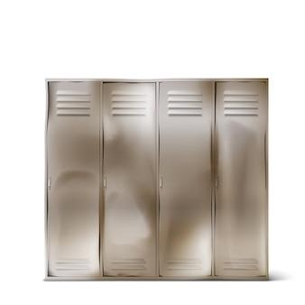 Viejos armarios de acero en el pasillo de la escuela o en el gimnasio