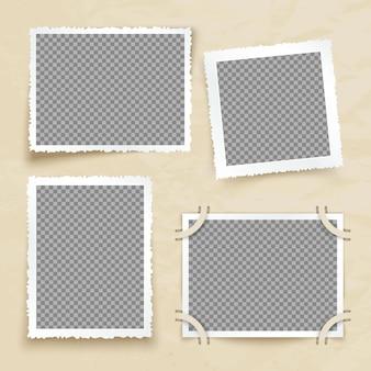 Viejos marcos de imagen victoriana. foto de la vendimia fronteras vector conjunto. tarjeta de foto de marco para galería e ilustración de álbum.