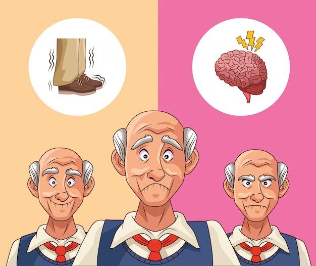 Viejos pacientes de la enfermedad de alzheimer pensando en zapatos y cerebro