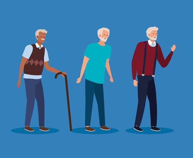 Viejos con ropa casual y peinado