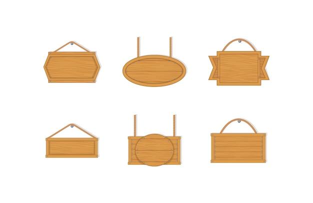Viejos tableros de madera vacíos del oeste. tablones de madera vacíos con clavos para pancartas o mensajes colgados de cadenas o cuerdas. real colgante tablón de madera firme sobre un fondo blanco.