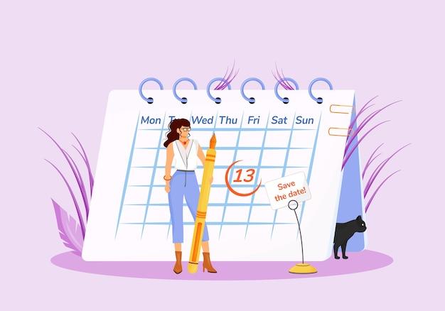Viernes decimotercero concepto plano ilustración. joven supersticiosa con calendario y personajes de dibujos animados en 2d de gato negro para diseño web. superstición común, idea creativa de fecha desafortunada