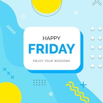 Viernes disfruta tu fin de semana fondo azul