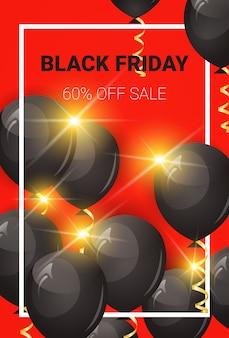 Viernes negro 60 por ciento de descuento banner de venta con globos de aire y marco
