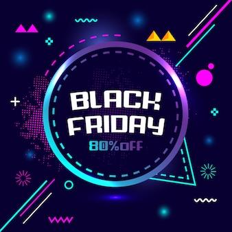 Viernes negro 80% de descuento en venta especial banner de geometría creativa