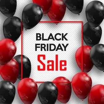 Viernes negro. banner para tu diseño con globos del día mundial de la venta.