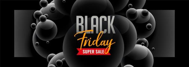 Viernes negro banner de venta de estilo 3d