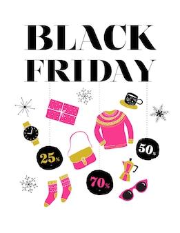 Viernes negro, banner de venta de navidad, plantilla de cartel y fondo