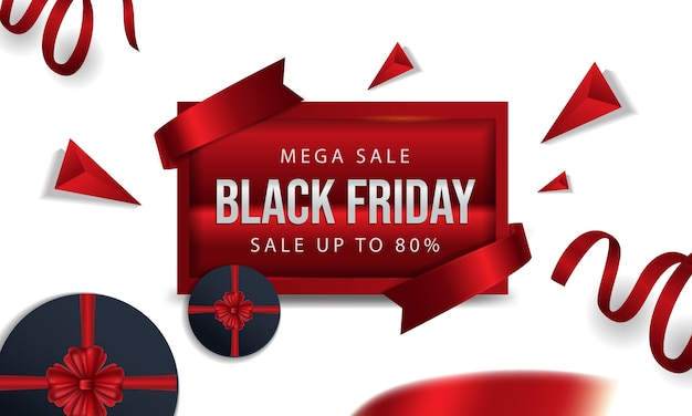 Viernes negro a bordo de un rojo con cinta y regalo de círculo rojo