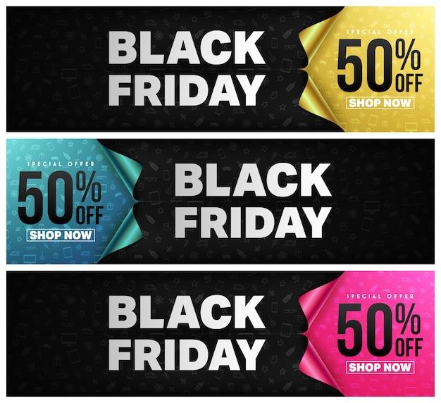 Viernes negro cartel o pancarta con concepto de papel de envoltura de regalo abierto