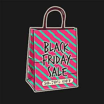 Viernes negro colorido con bolsa de compras