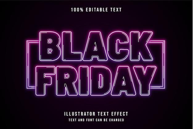 Viernes negro, efecto de texto editable 3d gradación rosa efecto de texto neón púrpura