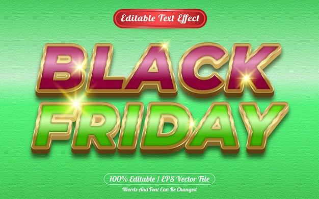 Viernes negro efecto de texto editable tema dorado