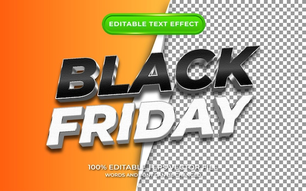 Viernes negro con estilo de plantilla de efecto de texto editable de fondo transparente