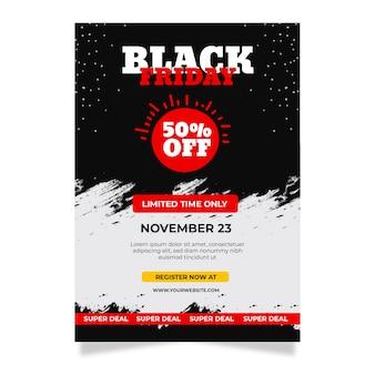 Viernes negro folleto dibujado a mano