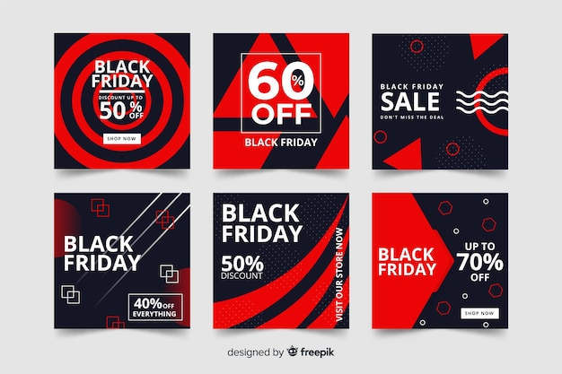 Viernes negro instagram post pack