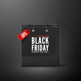 Viernes negro. plantilla de banner de viernes negro. bolsa de papel negra con etiqueta oferta de venta y descuento. aislado sobre fondo negro