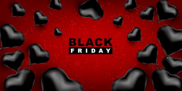 Viernes negro plantilla oscura para un banner con globos negros en forma de corazón