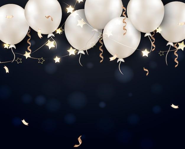 Viernes negro venta banner globos blancos.