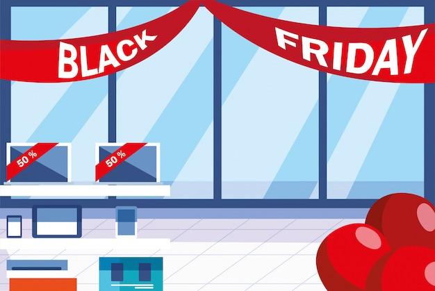Viernes negro venta promocional banner de compras con productos y descuentos