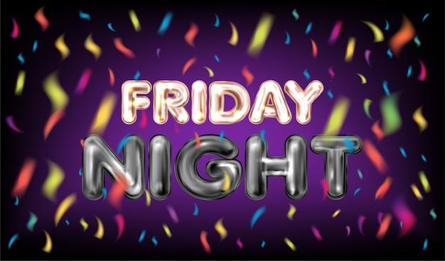 Viernes por la noche bandera violeta con confeti