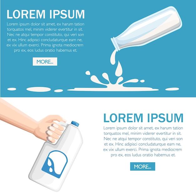 Vierta la leche de la ilustración de la botella de plástico