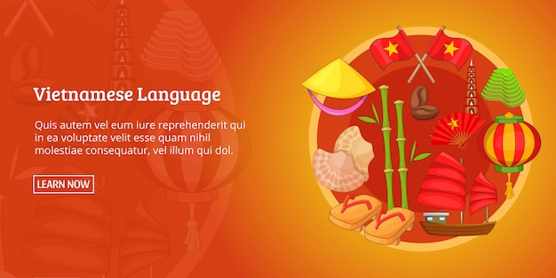 Vietnam banner horizontal, estilo de dibujos animados