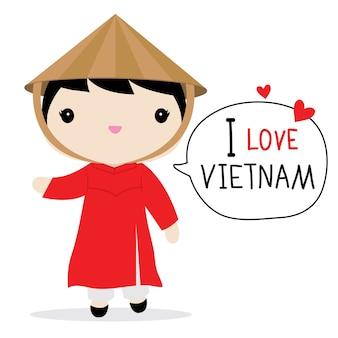 Vietnam mujeres vestido nacional de dibujos animados vector