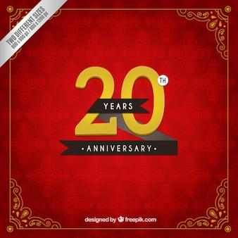 Vigésimo aniversario en un fondo rojo