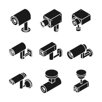 Vigilancia de la cámara de televisión al aire libre, cámaras de seguridad cctv vector iconos aislados